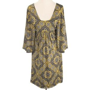 Studio M Yellow & Gray Damask Kimono Sleeve Dress